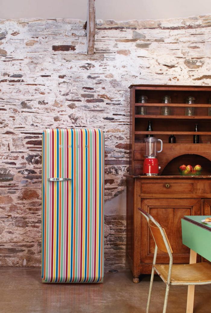 Smeg Retro Refrigerator Stripes