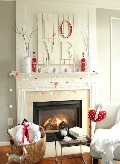 Shabby Chic Red Fireplace