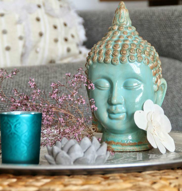 Statueta Buddha Cap turcoaz