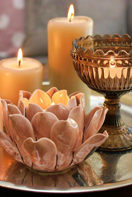 home design lotus candle holder