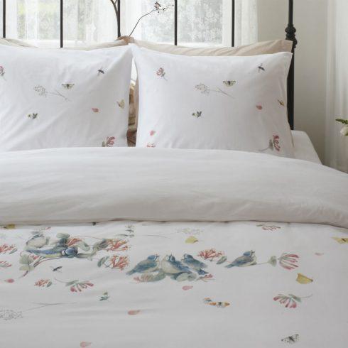 Lenjerie de pat alba cu pasari si fluturi - Catalog