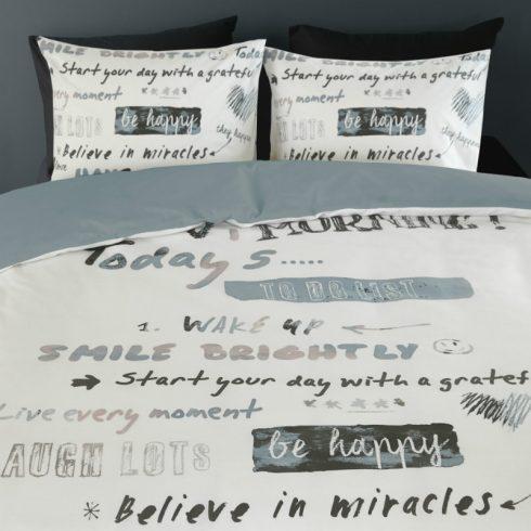 Lenjerie de pat moderna cu mesaje optimiste - Detaliu fete de perna