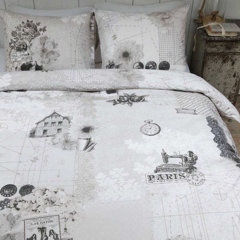 Lenjerie pat vintage alb negru Antique - Catalog