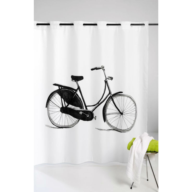 shower curtain vintage bicycle black and white. Black Bedroom Furniture Sets. Home Design Ideas
