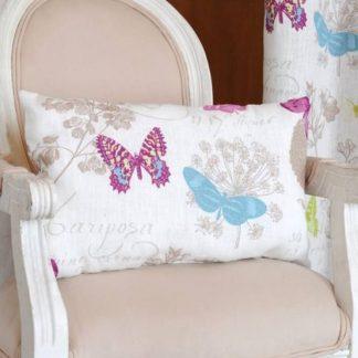 Perna decorativa fluturi multicolori alb