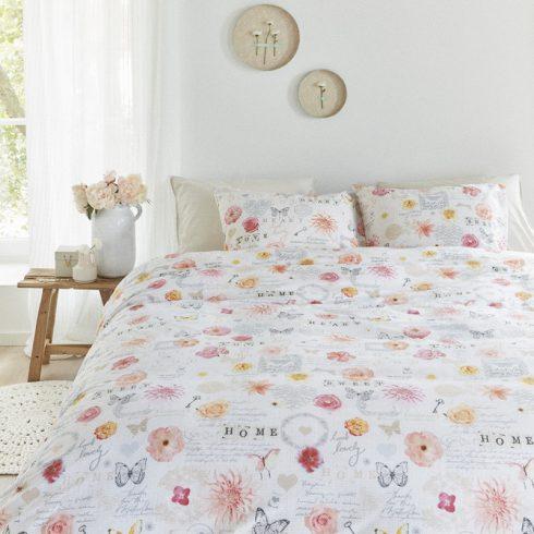 Lenjerie de pat cu flori si fluturi - Spectacol Multicolor