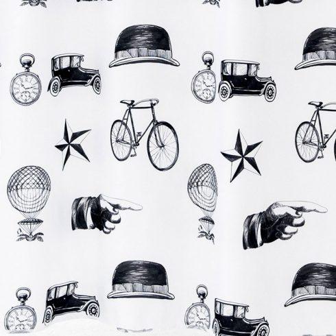 Perdea dus vintage obiecte alb negru Detaliu