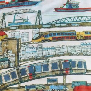 lenjerie albastra pat copii baieti 2 City Blue eticheta