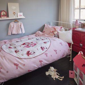 lenjerie pat fete roz balete bumbac Ballet Pink-800x800