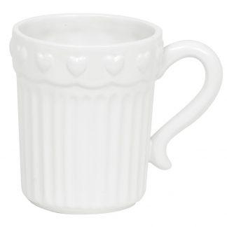 Cana cafea alba cu inimioare