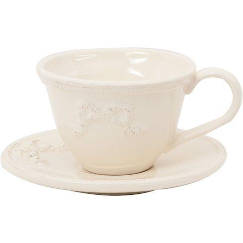 Ceasca pentru cafea cu farfurie fundita - alb antichizat