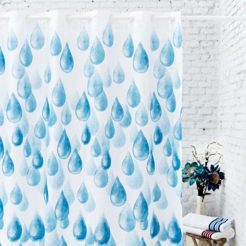 Perdea dus alba cu picaturi albastre Rain Catalog