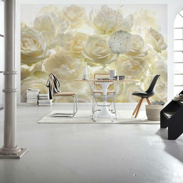 Fototapet trandafiri albi Aroma de Shalimar - Catalog