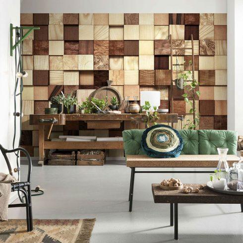 Fototapet lemn – Perete de cherestea