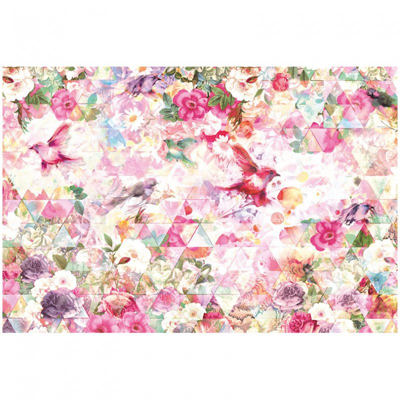 Fototapet roz cu flori si pasari Prisma