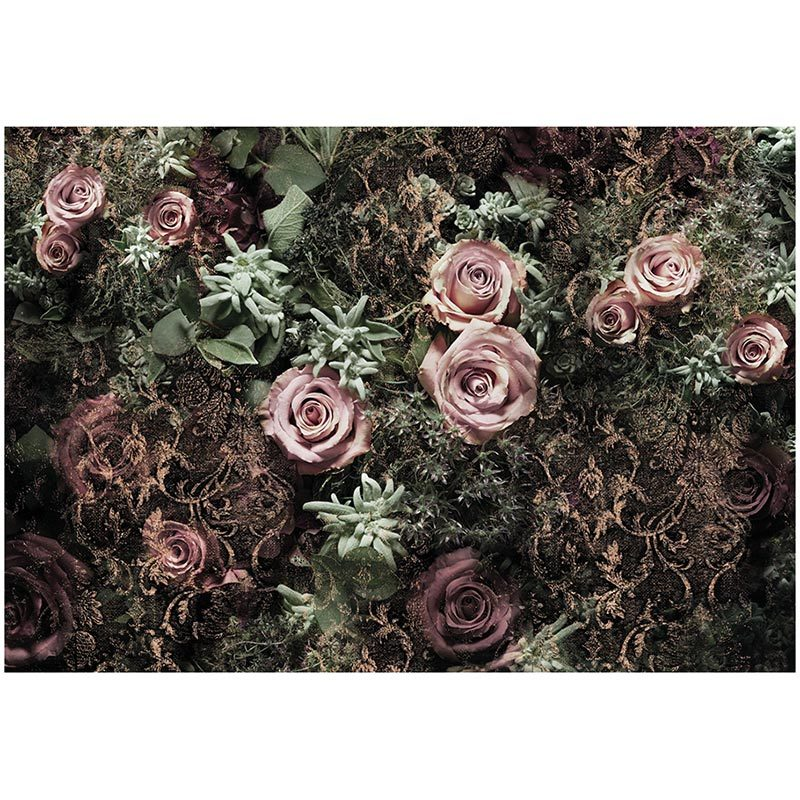 Fototapet trandafiri catifelati roz pudrat