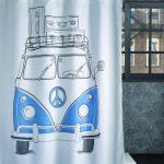 Perdea dus Vintage Volkswagen Albastra