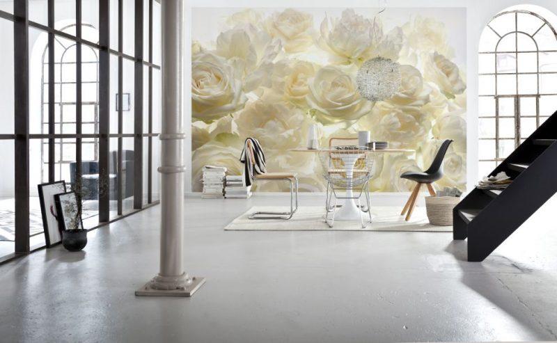 Fototapet trandafiri albi - Ambient