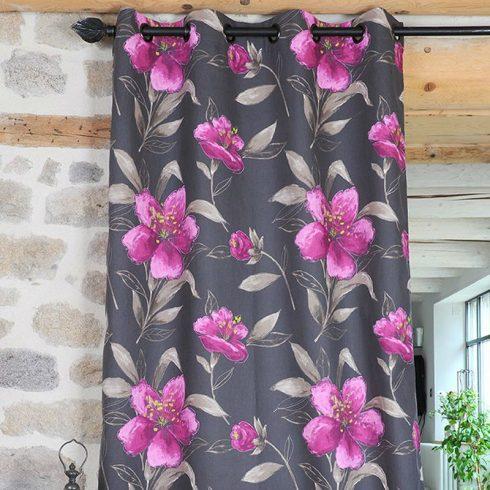 Draperie flori roz pe fundal gri Lancaster - Catalog