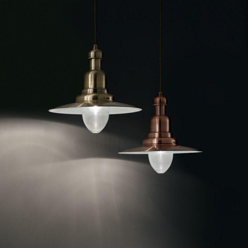 Lampa suspendata Ideal Lux - Fiordi SP1 Bronz si Cupru