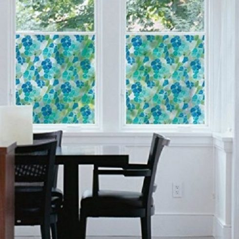 Folie geamuri vitralii flori albastre - Ambient 1