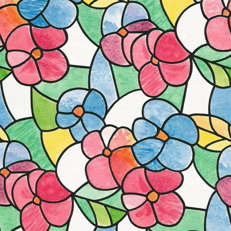 Folie geamuri vitralii flori colorate - Catalog