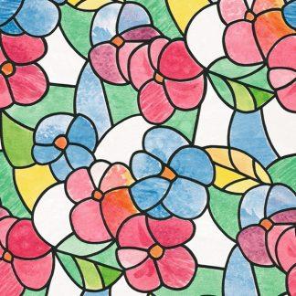 Folie geamuri Vitralii Flori colorate
