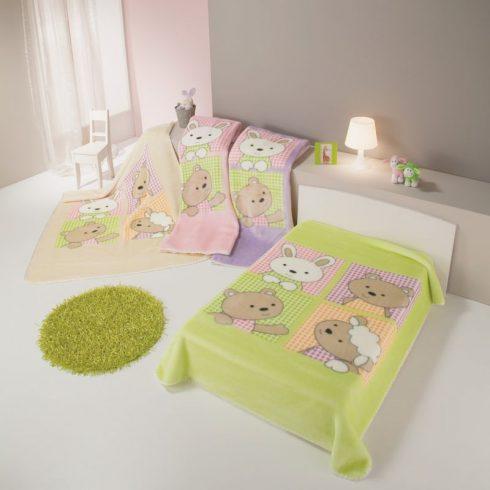 Patura copii verde - Animalute Vesele