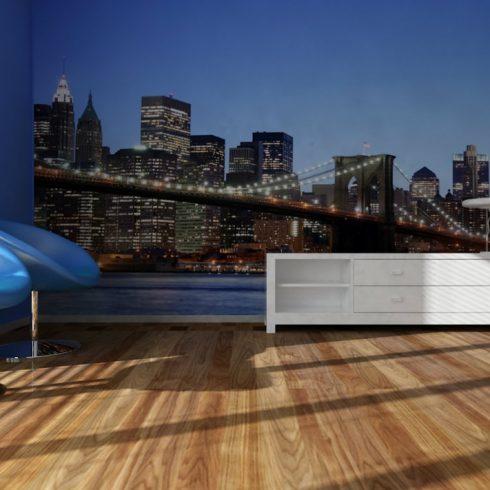 Fototapet Urban - Podul Brooklyn Noaptea - Interior