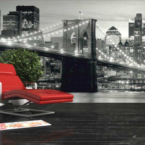Fototapet Urban - Podul Brooklyn Noaptea Alb Negru - Interior