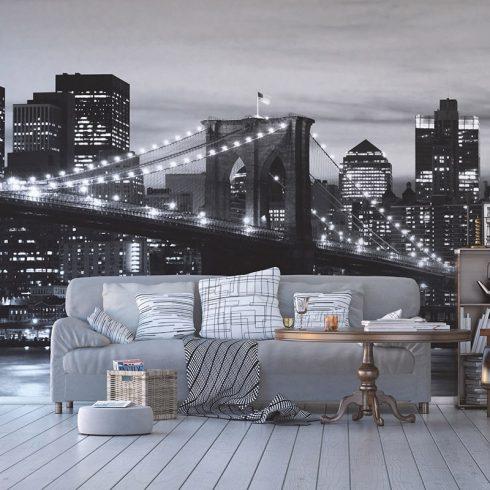 Fototapet Alb Negru – Podul Brooklyn