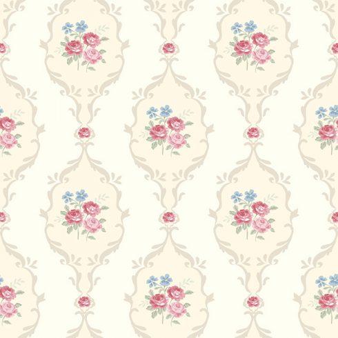 Tapet Shabby Chic Alice vanilla ghirlande rosii