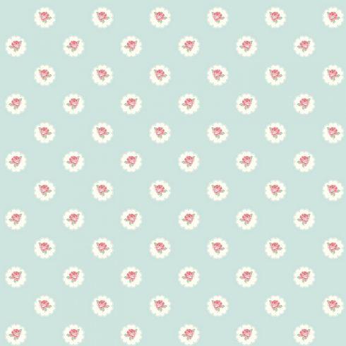 Tapet Shabby Chic Alice Tiffany Bleu - Trandafiri