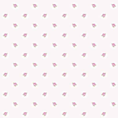 Tapet Shabby Chic Alice ivoire trandafiri roz