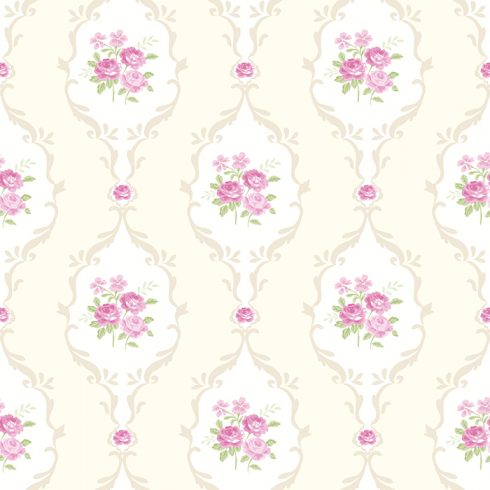 Tapet Shabby Chic Alice Ivoire - Roz LL-00211
