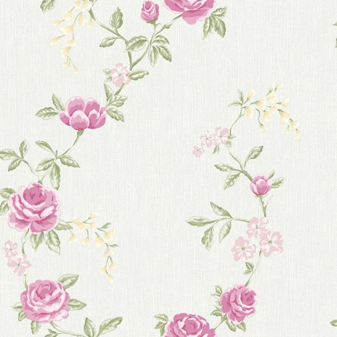 Tapet Shabby Chic Alice bleu cu flori roz