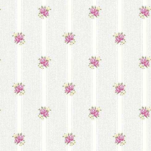 Tapet Shabby Chic Alice bleu cu dungi si flori