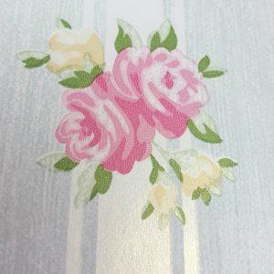 Tapet Shabby Chic Alice Bleu Pudrat - Dungi detaliu