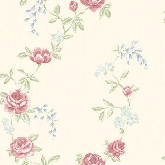 Tapet Shabby Chic Alice Crem - Flori Rosii LL-00228
