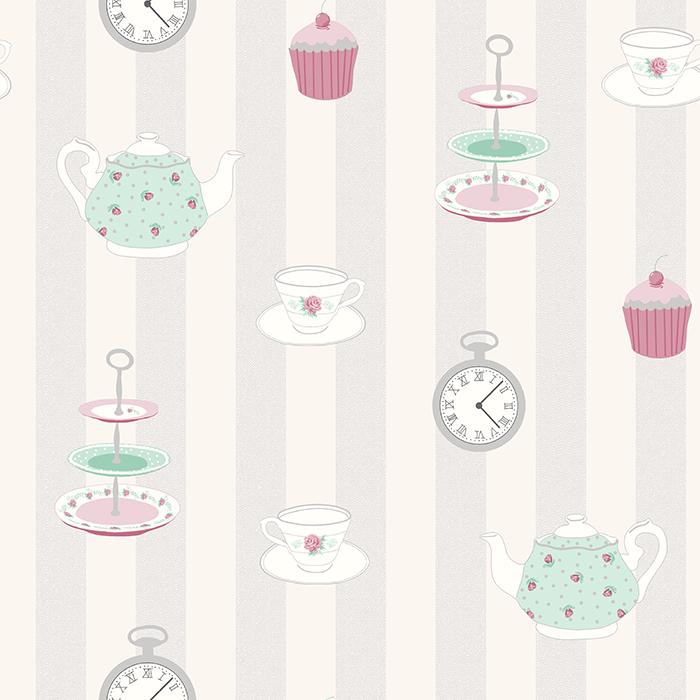 Kitchen Wallpaper Shabby Chic Alice Silver