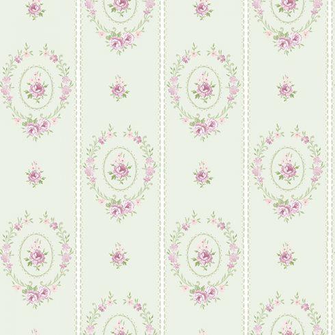 Shabby Chic Wallpaper Matilda Wreaths Sage Green