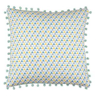 Perna decorativa Isocele ciucuri bleu