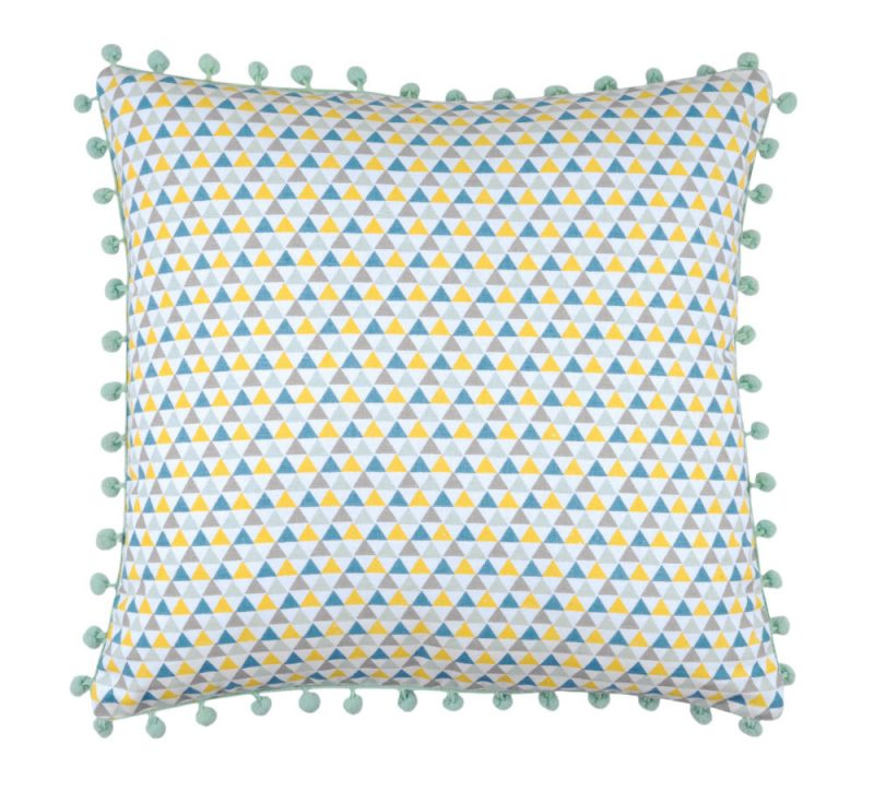 Perna decorativa bleu cu ciucuri Isocele