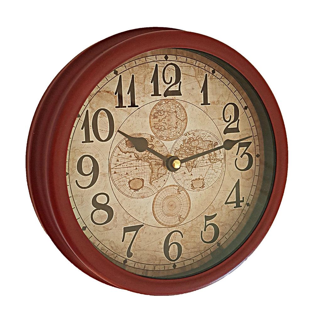 Decorative Wall Clock Burgundy Earth Globes