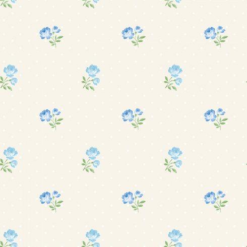 Tapet trandafiri albastri pe fundal crem Matilda