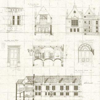 Tapet Vintage Schite Sepia Oxford