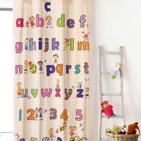Draperie copii cu litere si cifre colorate Abecedaire