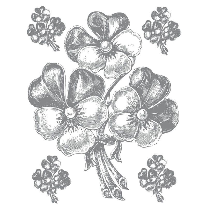 Sticker Perete Flori Gri