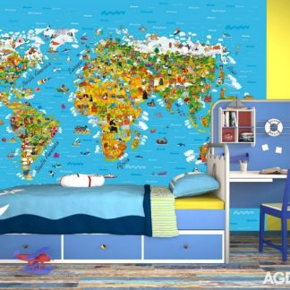 Fototapet Harta Lumii Copii Ambient