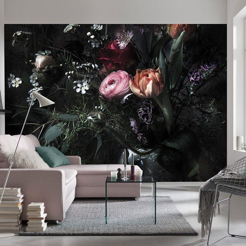 Fototapet negru Profunzimea florilor